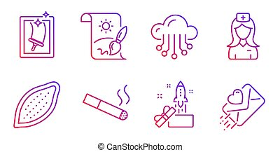 Hospital nurse, Smoking and Window cleaning icons set....