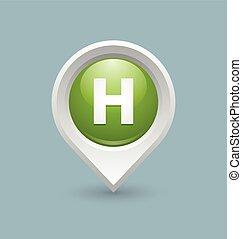 Hospital or heliport pointer on pale background