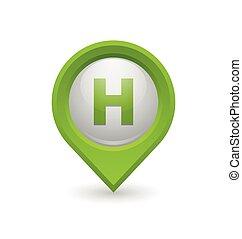 Hospital or heliport pointer on white background