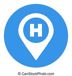 Hospital or heliport pointer vector white glyph icon. Medicine and medical support sign. Graph symbol for medical web site and apps design, logo, app, UI
