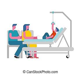 hospital., patient, leg., garçon, lit hôpital, cassé, parents., garderie, monde médical, gosse