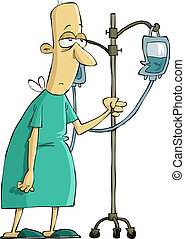 Hospital patient with a dropper, vector illustration