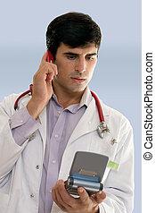 Hospital Personnel - Male hospital worker or doctor talking...