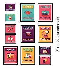 Hospital poster banner design flat background set, eps10