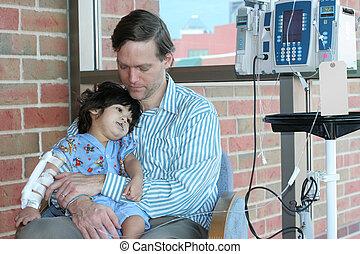 hospital, preocupado, padre, sostener a niño