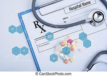 hospital., recepta, biuro, kształt, chemiczny, papier, stetoskop, biurko, formułka, biały, ikona