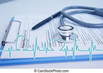 hospital., recepta, biuro, kształt, medyczny, papier, stetoskop, biurko, biały, ikona