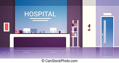hospital reception desk waiting hall with counter doors furniture healthcare concept empty no people modern medical clinic interior horizontal flat