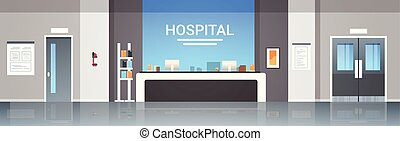 hospital reception desk waiting hall with information board counter doors furniture healthcare concept empty no people modern medical clinic interior horizontal banner flat