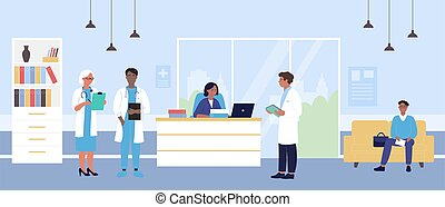 Hospital reception vector illustration, cartoon flat doctor character team, man patient waiting in hospital hall interior background