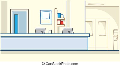 hospital reception waiting hall empty no people medical clinic interior horizontal banner sketch doodle vector illustration