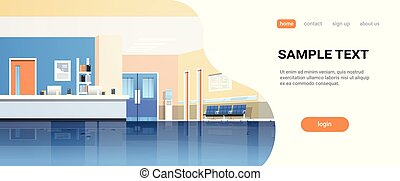 hospital reception waiting hall with counter seats doors empty no people medical clinic interior horizontal banner copy space flat