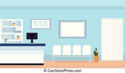 hospital reception waiting hall with seats empty no people medical clinic interior horizontal flat