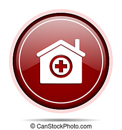 Hospital red glossy round web icon. Circle isolated internet button for webdesign and smartphone applications.