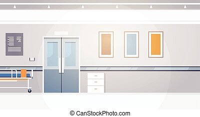 Hospital Room Interior Intensive Therapy Corridor Banner With Copy Space