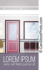 Hospital Room Interior Intensive Therapy Patient Waiting Hall Banner With Copy Space