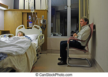 Sitting and worrying about a sick loved one in a stark hospital room.
