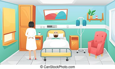 Hospital room with a bed, bedside tables and a chair for visitors. The doctor came to the patient lying in bed. Fighting coronavirus in hospitals.