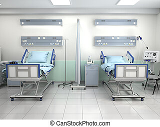 hospital room with beds in blue tones. 3d illustration