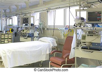 hospital, sala de emergencia, con, cama, y, equipo