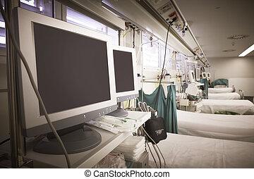 hospital, sala de emergencia, con, equipo, y, camas