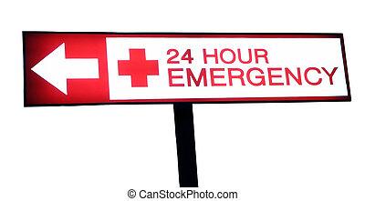 Hospital sign 24 hour emergency - Hospital emergency red...