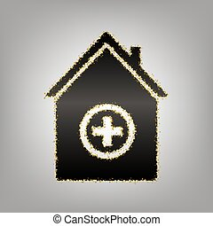 Hospital sign illustration. Vector. Blackish icon with...