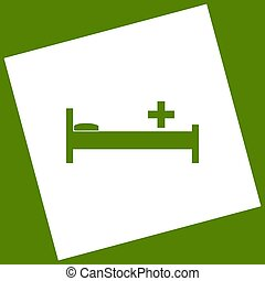Hospital sign illustration. Vector. White icon obtained as a...
