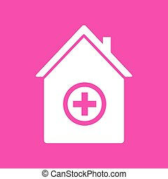 Hospital sign illustration. White icon at magenta background.