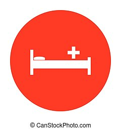 Hospital sign illustration. White icon on red circle.