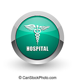 Hospital silver metallic chrome web design green round internet icon with shadow on white background.