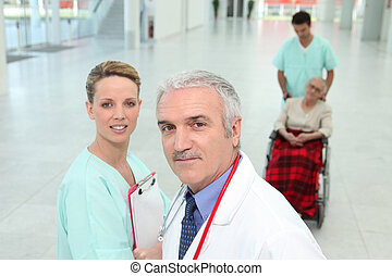 Hospital staff in corridor
