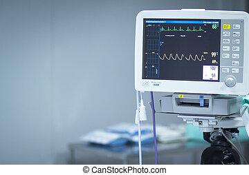 Hospital surgery heart rate monitor screen