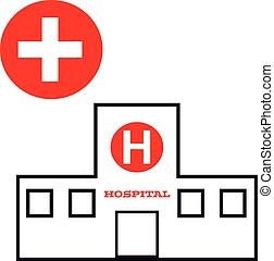 Hospital symbol on white background