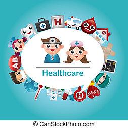 hospital, tarjeta, médico
