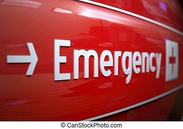 hospital., tegn, nødsituation