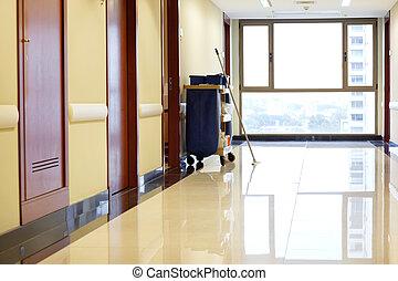 hospital, vacío, pasillo