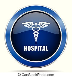 Hospital vector icon. Modern design blue silver metallic glossy web and mobile applications button in eps 10