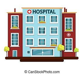 hospital, vector, plano, diseño, edificio, aislado, blanco, fondo.