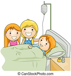 Illustration of a Kids Visiting Their Sick Friend