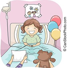 Hospital Visitors - Illustration Featuring a Little Girl...