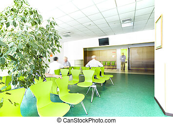 Hospital waiting room corridor reception