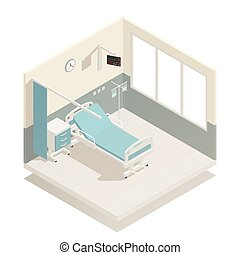 Hospital ward with medical equipment furniture isometric composition with bed infusion and room dividing curtain vector illustration