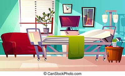 Hospital ward room interior illustration