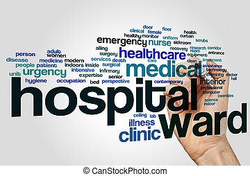 Hospital ward word cloud concept on grey background