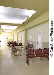 hospital., warten bereich, mit, seats.