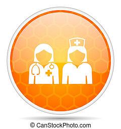 Hospital web icon. Round orange glossy internet button for webdesign.