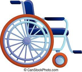 Hospital wheelchair icon, cartoon style