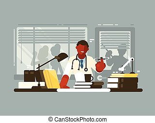 hospitalar, chefe, escritório, doutor