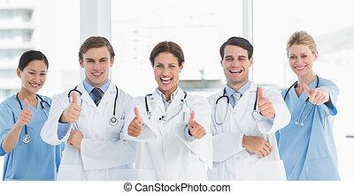 hospitalar, cima, alegre, polegares, doutores, gesticule